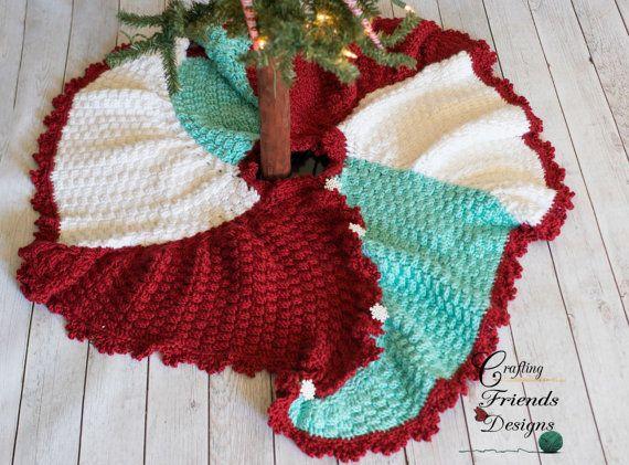 Crochet Pattern, TriSquare Swirl Christmas Tree Skirt, Warm, Textured, unique