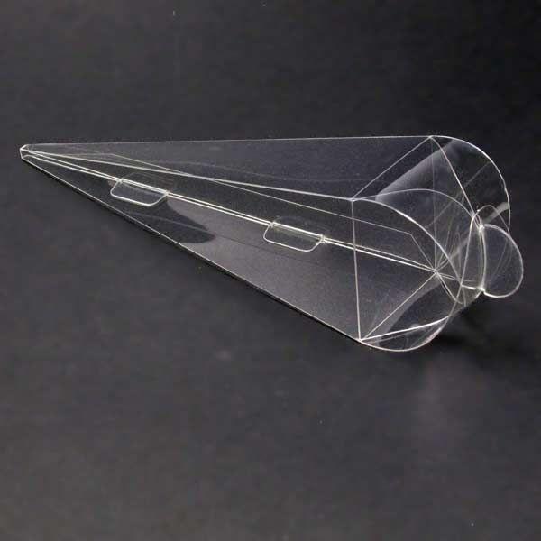 Caja acetato transparente automontable 12x3.5x3.5 cms. tipo cono. 0,35€