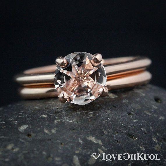 Natural Pink Morganite Engagement Ring Set
