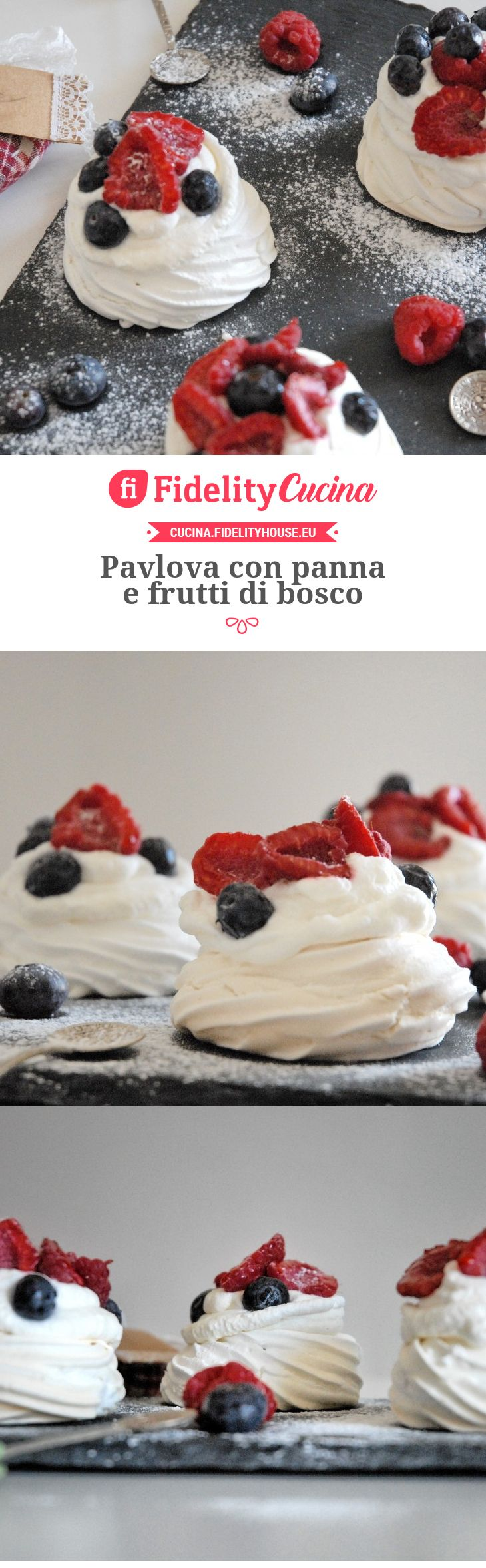 Pavlova con panna e frutti di bosco