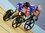 Victoria Pendleton and Jess Varnish of Great Britain race side by side in the women's Sprint quarter-final