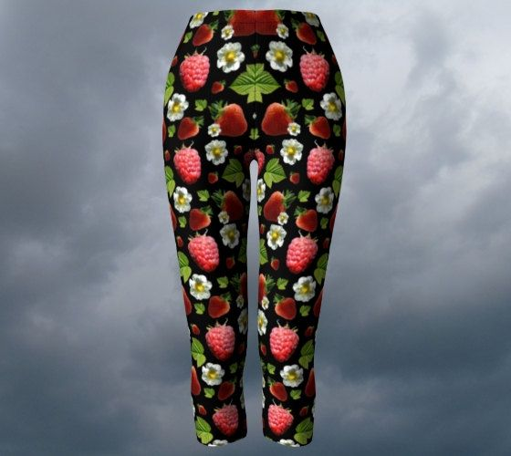 Strawberry leggings raspberry yoga pants fruit picking capri trousers yoga…
