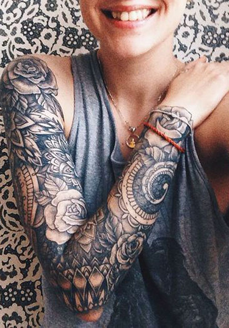 Black and White Floral Mandala Full Arm Sleeve Tattoo Ideas for Women – ideas d… – Körperkunst