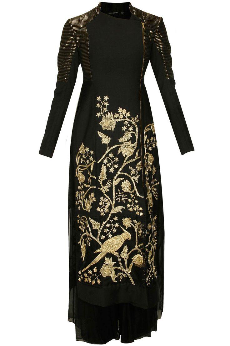 Black parrot embroidered long trench jacket kurta set available only at Pernia's Pop Up Shop.#designer #fashion #HappyShopping #love #shopnow #rahulmishra #festive