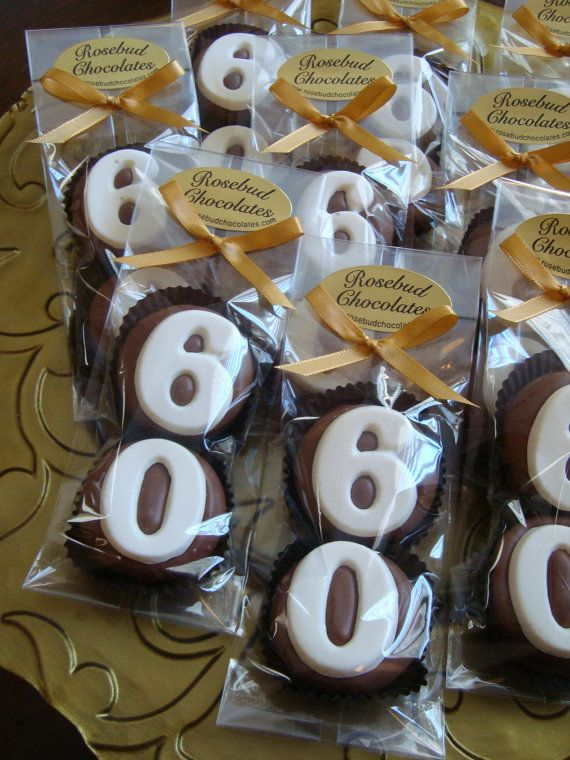 8 Chocolate 60th Double Oreo Cookie Favors Number Sixty Birthday Party Favors Celebration Anniversary