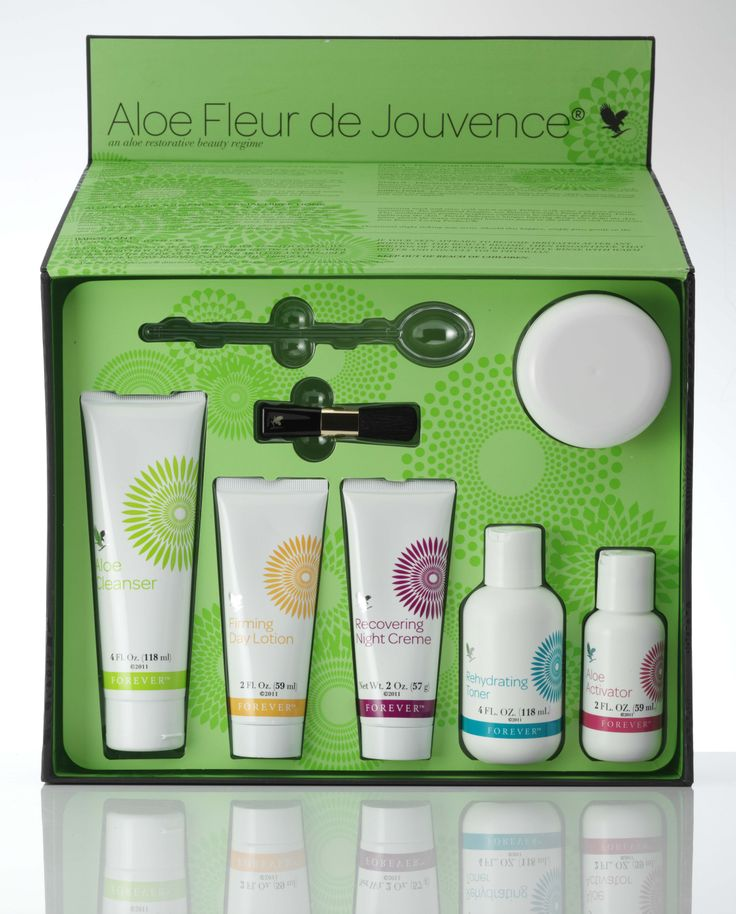 Aloe Fleur de Jouvence Collection - The all-round care package for your skin. These superbly matched products are presented in a decorative box and contain pure aloe vera gel, special plant extracts, pH-balanced fruit acids with jojoba and apricot kernel oil and fat-soluble vitamins. The name given to this exclusive facial care collection with collagen and elastin speaks for itself, 'The Flower of Youth'.