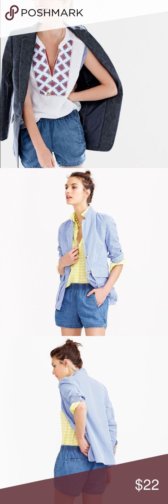 drapey chambray pull on short Pull on lightweight drapey chambray shorts with an elastic band at the waist. Perfect for warm summer days! Cotton/tencel/silk/linen J. Crew Shorts Jean Shorts