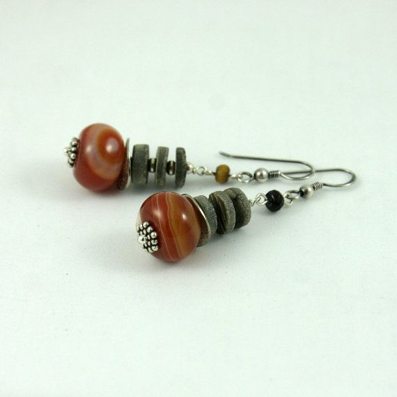 brown agate earrings by wazkastudio on Etsy