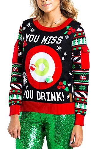 Womens Drinking Game Ugly Christmas Sweater Funny Christmas