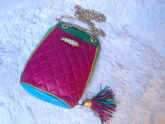 Vintage Colourful Quilted Leather Bag  Gold Chain FOR SALE  $59.95 LIKE CHANEL STYLE  xx RAINBOW www.etsy.com/shop/JANEBONDNY