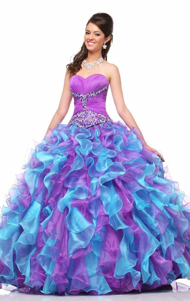 Purple Blues Long Organza Bead Ball Gowns Pageant Dress Prom Quinceanera Dresses
