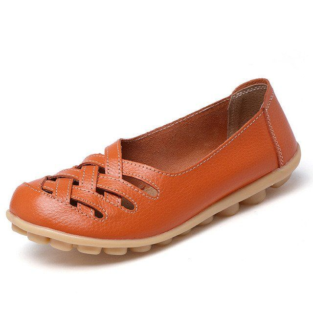 Candy Orange Casual Comfy Smooth Shoes with Lattice Hatched Upper - Co – Nodule Shoe