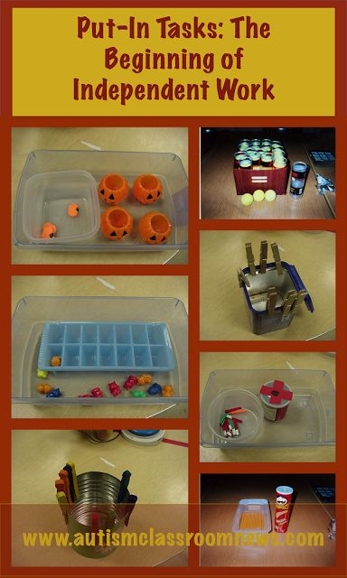 Workbasket Wednesday Link up with blog posts showing different work tasks for independent work systems. Mine this month focuses on put-in tasks and a video sharing different use of materials for tasks.