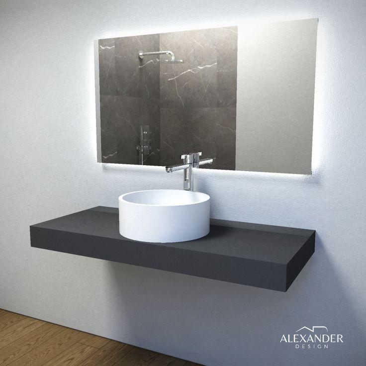 Specchio retroilluminato led mod. VISION di Alexander Design. Ambientato con lavabo UFFIZI in ADsurface e top in FENIX. Una combinazione di materiali assolutamente innovativa, di qualità eccezionale e soprattutto unica e originale.