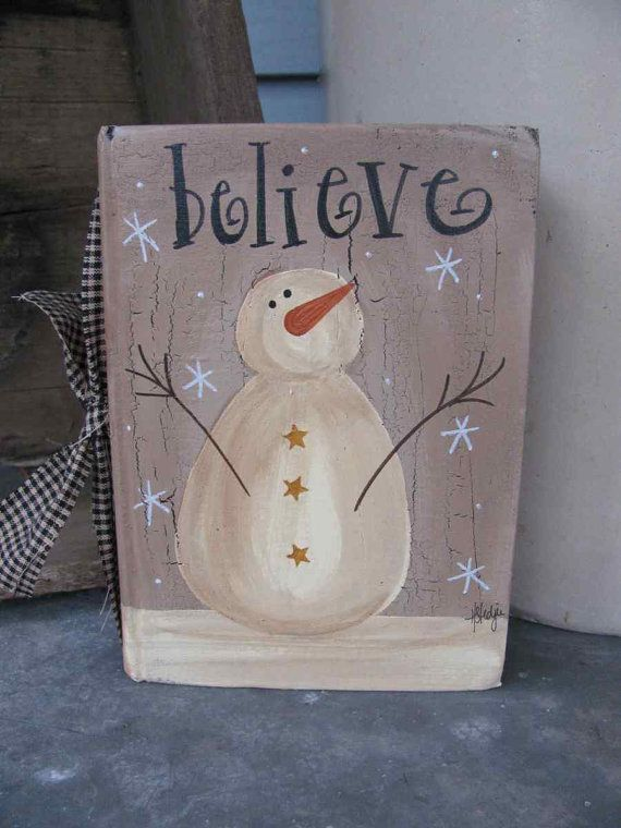 Primitive Vintage Believe Snowman Hand by GainersCreekCrafts