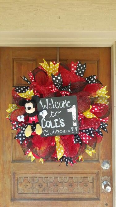 Cole's Clubhouse-Mickey Mouse themed deco mesh wreath