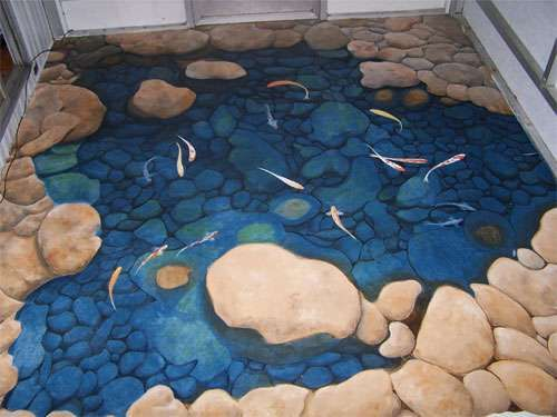 3d floor mural gold fish pond floor by michael v las for Michael koi pond