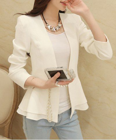 Stylish Collarless Long Sleeve Solid Color Ruffled Blazer For Women Blazer | RoseGal.com Mobile