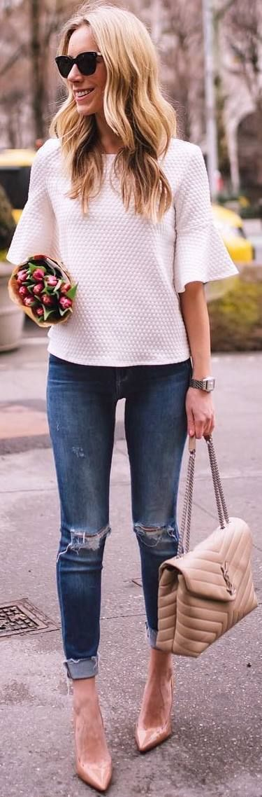 #winter #outfits white top, ripped jeans, beige heels