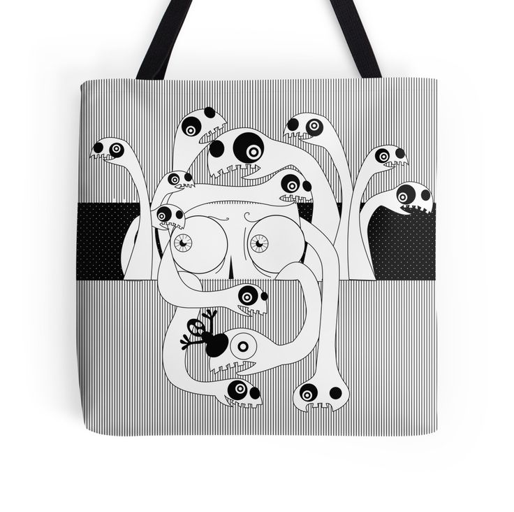 PANIC by giadagabiati great idea fo a gift! #totebag #bag #fashion #black&white #accessories #art #redbubble