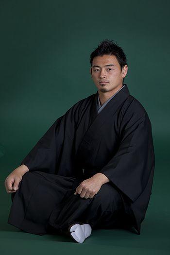 Japanese rugby player, Ayumu Goromaru clad in Japanese kimono by Motoji.