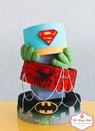 #superman birthday cake for boys, love the hulk hands