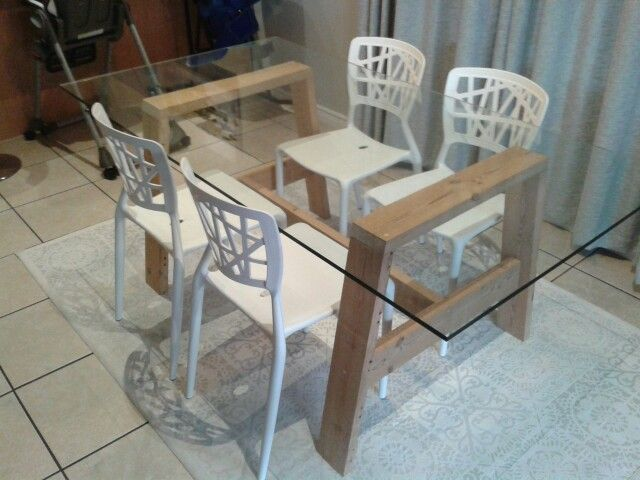 Glass top dining table DIY with reclaimed oregan pine
