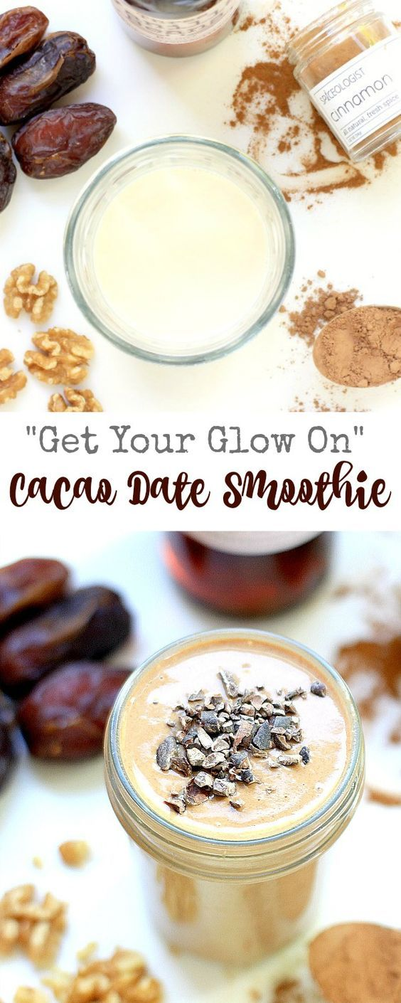 Get Your Glow On with this nourishing and delicious Cacao Date Smoothie. The recipe is vegan, gluten-free, and paleo, has only 6-ingredients, and is super easy to make!