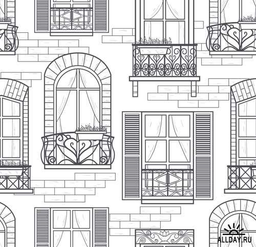 vintage window drawing. illustration of seamless windows pattern vector art, clipart and stock vectors. vintage window drawing b