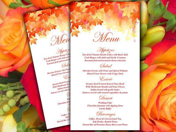 DIY Wedding Menu Card Microsoft Word by PaintTheDayDesigns on Etsy