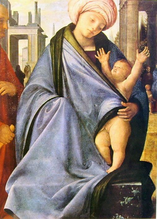"""Madonna con turbante (Sacra Famiglia"""", o """"Madonna col Bambino e donatore"""" del Bramantino)_Brera, Milano"""