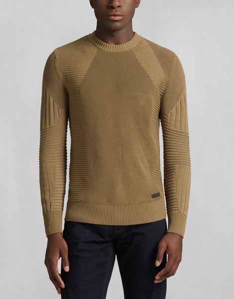 Belstaff - Kallen Crewneck Sweater - Slate Green (love the details in the knit pattern)