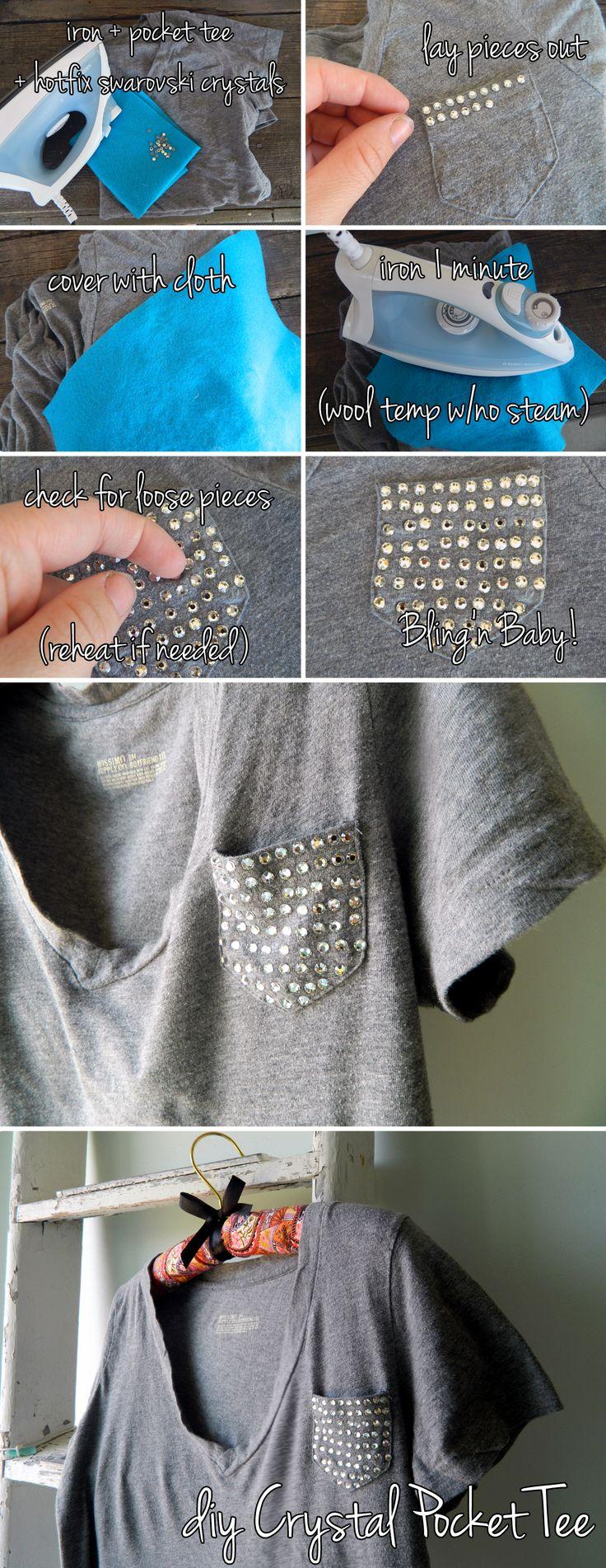 Swarovski Crystal Pocket Tee DIY - I want to make a DIY pocket tee SO bad and this would be adorable!