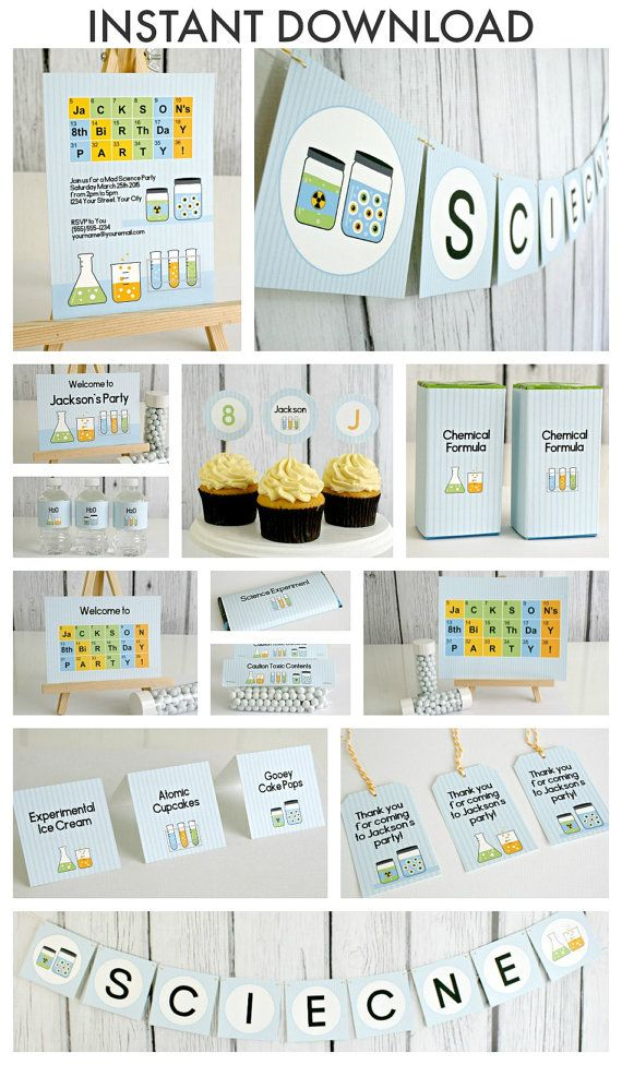 DIY Science Party Happy Birthday Banner periodic table of elements - new periodic table download
