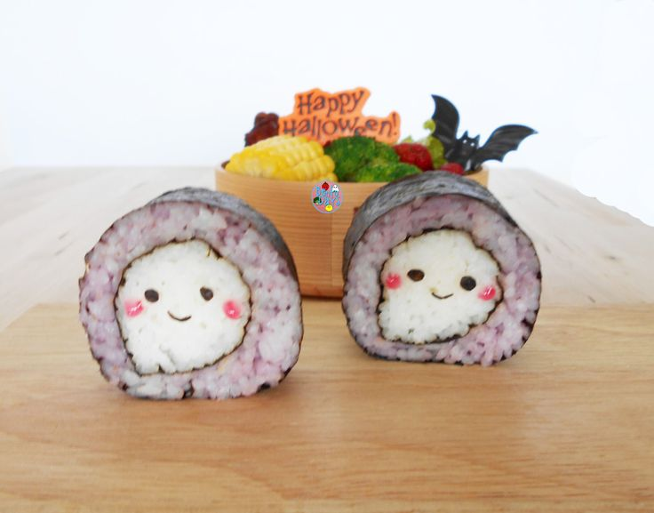 Ghost Sushi halloween bento - - SHUT UP THAT IS TOO MUCH CUTE! STOP!