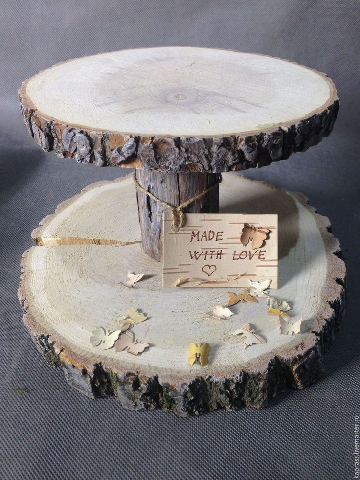 Купить подставка под пироженные - бежевый, спил дерева, подставка для торта, подставка под пироженные