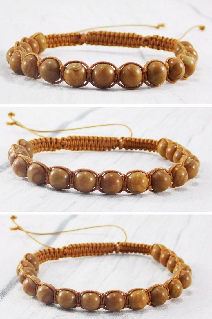 Wood Stone Bracelet Wristbands For Men Beaded Bracelet For Men Etsy Wooden Bracelet Mens Beaded Bracelets Bracelets For Men