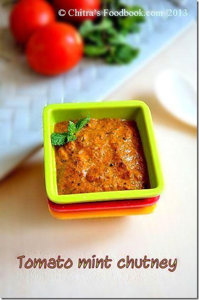 Chitra's Food Book: TOMATO MINT CHUTNEY RECIPE-SIDE DISH FOR IDLI DOSA...