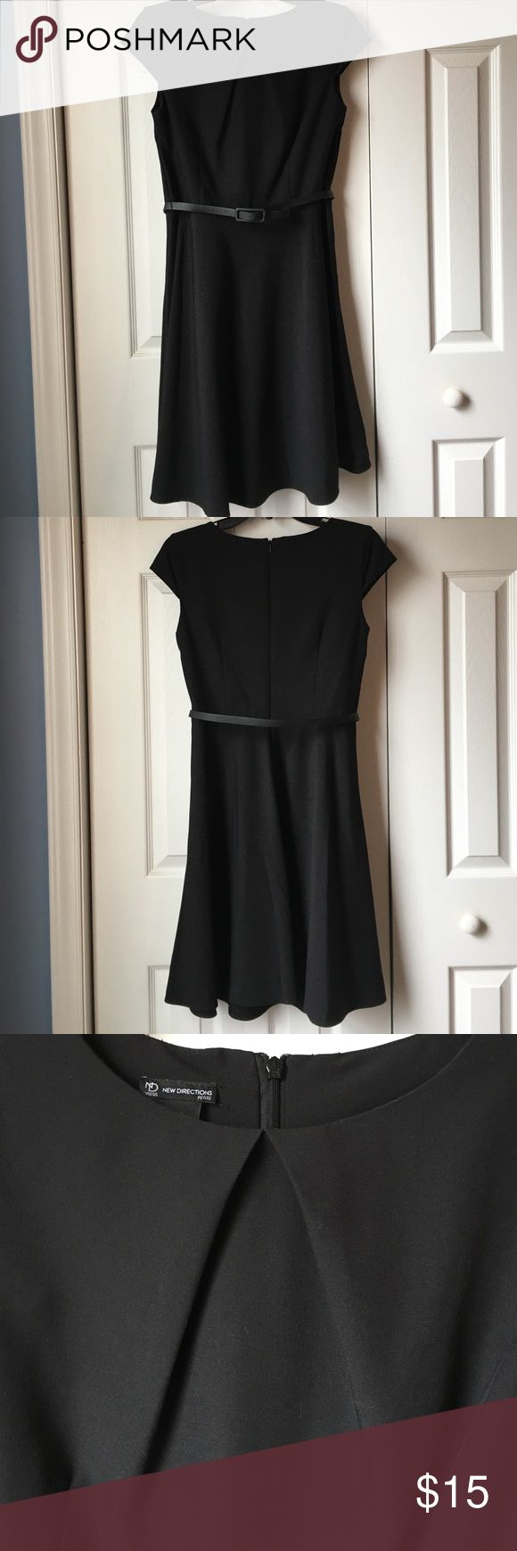 """New Directions Petite Dress Worn once! Black fit and Flare dress with cap sleeves. Includes narrow faux leather belt. Approximately 37 inches long. Perfect """"Little Black Dress""""! new directions Dresses"""