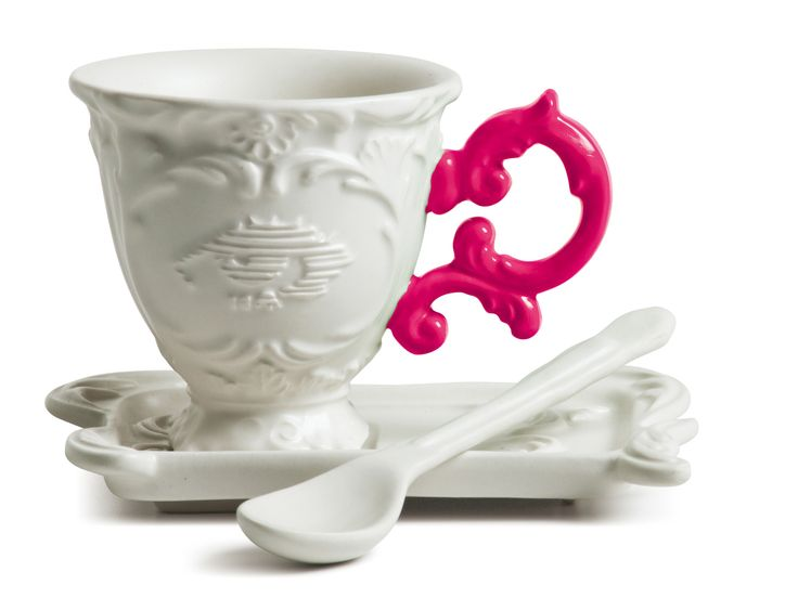 I-Coffee Porcelain Coffee Mug Set w/ Fuschia Handle design by Seletti