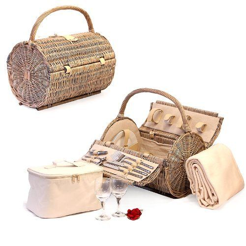 Harrington Wicker Barrel 2 Person Picnic Basket Hamper