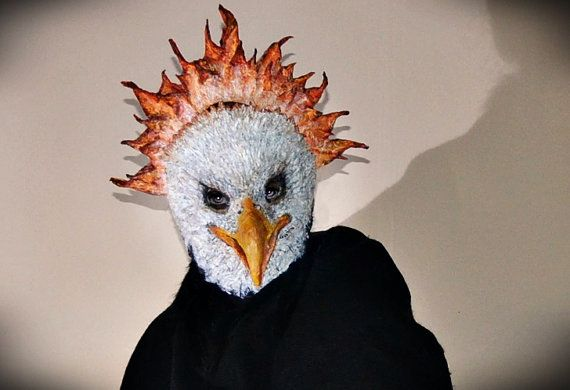 Halloween Paper Bird Phoenix  Mask Paper mache Bird by RheaMasks