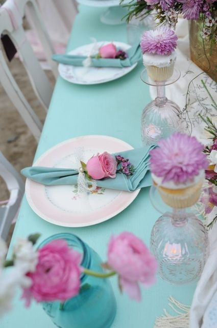 The lavender flowers takes a pink and aqua tablescape to a great new place!