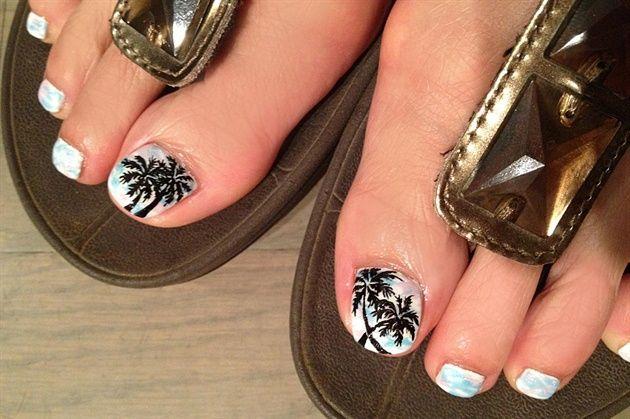 Hand Painted Palm Tree Marble Colors By Kiki Chicago Nail Art Gallery Nailartgallery Nailsmag Nails Magazine Www Nailsm