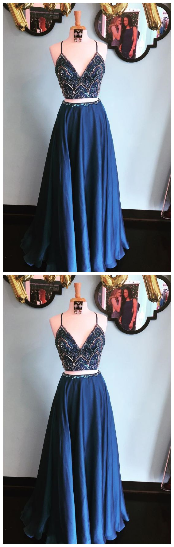 Sparkly Two Piece Sequins Navy Blue Long Prom