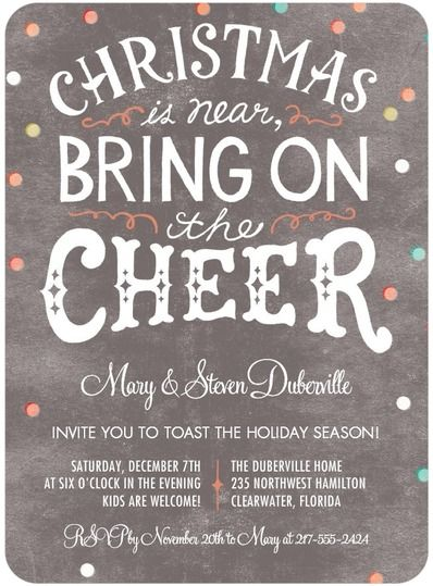 Holiday party invitations cheer and holiday parties on pinterest