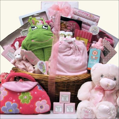 This basket will make a 'Grand Welcome' for sure when presented to the proud parents. This gorgeous baby girl gift basket is filled to the brim with everything baby including a Swirly Flower Matching Infant Brush & Comb Gift Set, Swirly Flower Cap & Sock ...