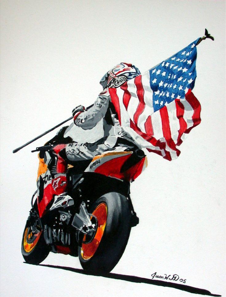 Nicky hayden my favorite print all time honda pinterest boys american flag and bikes - American motorbike garage ...