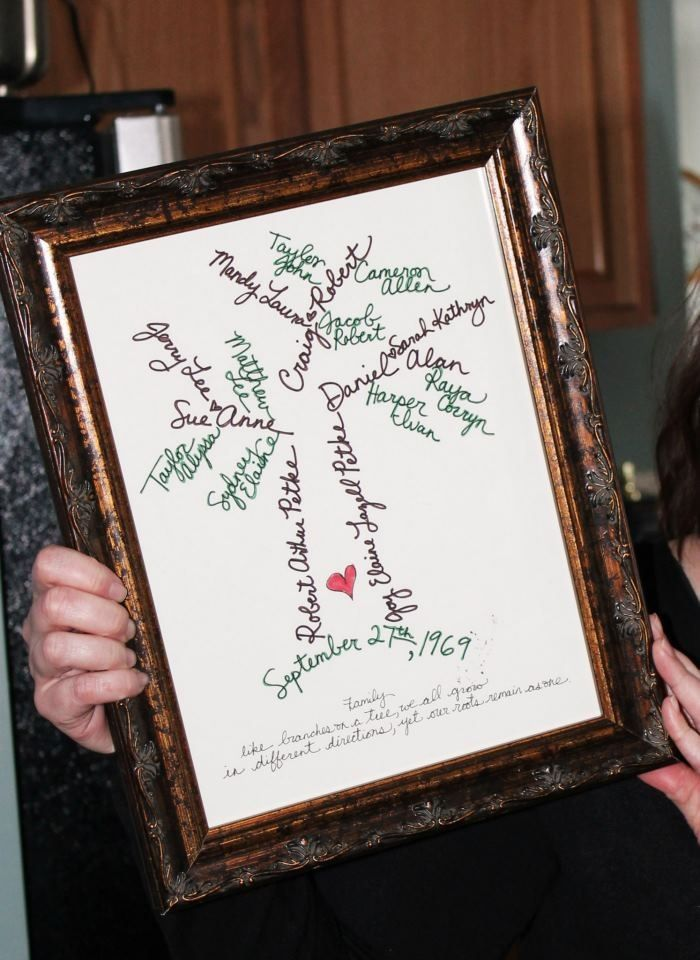 Family tree design made as a Christmas gift for my grandparents. Just place in a pretty frame & voila- a great homemade gift.