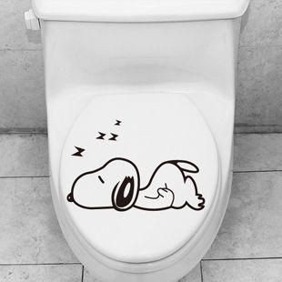 Cartoon Snoopy Toilet Sticker Bathroom Gl Stickers Waterproof Tile China Mainland